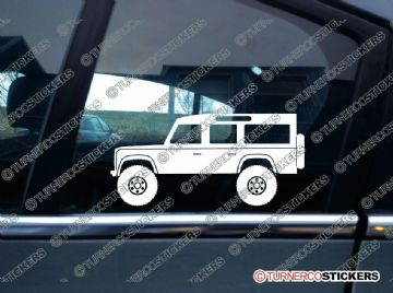 2x Lifted Land Rover Defender 110 WAGON offroad 4x4 silhouette stickers